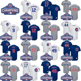 Wholesale 2016 World Series Champions Patch Chicago Cubs Kris Bryant Anthony Rizzo Javier Baez Jake Arrieta Jersey Baseball Jerseys