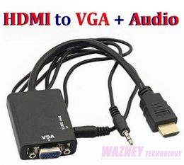 Wholesale HDMI to VGA mm Audio Cable Converter Adapter Male to Female HDMI VGA Video adaptor HDTV CRT Monitor TV Convex head