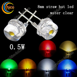 F8 Straw Hat Led Beads Diodes Utra Bright cree led chip 0.5w 8mm Red Green Blue Yellow Orange Pink Purple White Warm