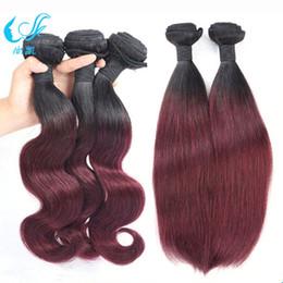 Hot Sale Omber Color 1b 99j Weft Hair Extensions Dark Wine Fashion Beauty Human Hair Weave Bundles Silky Straight Body Wave Brazilian Hair