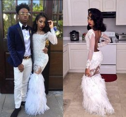 Wholesale 2K17 White Mermaid Prom Dresses Sexy Black African Girls Party Dresses Long Sleeves Backless Lace Feather Long Evening Gowns Formal Wear