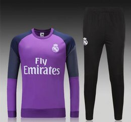 Wholesale 16 Real Madrid soccer tracksuit full sleeve designer football hoody adult s outdoor sport jerseys men s athletic training long pants