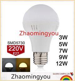 10PCS New Arrival E27 LED Bulb 220V 3W 5W 7W 9W 12W LED Lamp SMD5730 Super Bright Bombillas LED Light Warm White Cold White D3-D12