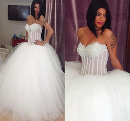 2016 New Arabic Ball Gown Wedding Dresses Sweetheart Crystal Beading Illusion Long Sweep Train Tulle Puffy Plus Size Formal Bridal Gowns