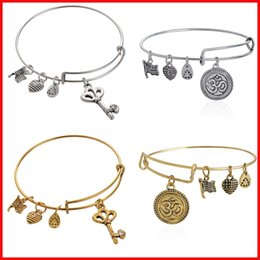 Wholesale Alex and Ani crystal skeleton key OM charm bangles bracelets band cuffs women girl Children fashion jewelry gift Ancient silver gold