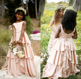 Blush Pink Flower Girls Dresses for Weddings Pleats Beach Party Gowns 2017 First Communion Dresses for Girls