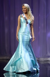 THE MISS TEEN USA 2019 Pageant Celebrity Dresses Light Blue Satin Mermaid Formal Evening Dresses Sexy V Neck Specail Occasion Dresses