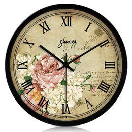 Wholesale Large vintage fashion mute wall clock american rustic quartz watches and clocks fashion clock pocket watch