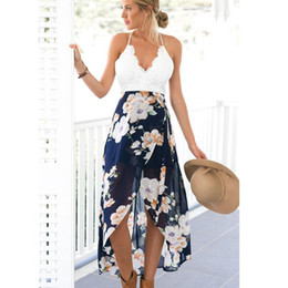 Wholesale 2016 New Women Backless Floral Print Chiffon Dress Patchwork Lace Embroidery V Neck Open Back High Low Slip Back Zipper Sheer Beach Dress