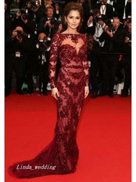 Sheath Burgundy Dark Wine Red Cheryl Cole Evening Dress New Arrival Long Sleeve Lace Formal Party Prom Gown