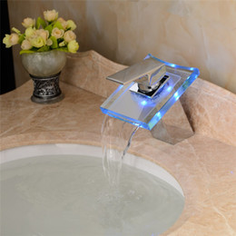 Wholesale Factory outlet bathroom with LED lamp glass waterfall basin faucet three color LED bathroom faucet basin mixer