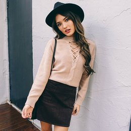 Wholesale 2016100925 Lace up winter knitted sweater Women casual black halter twist pullover Autumn long sleeve nude jumper pull femme