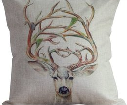 Deer Antlers And Prosperous Woods Elf Animal Photo Massager Pillow Case Cover Home Decor Wild Animal Christmas Vintage Gift