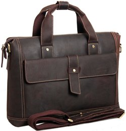 Wholesale British restoring ancient ways Real Leather men s Handbag bags man business portfolio leather shoulder bag Briefcase Messenger Bag