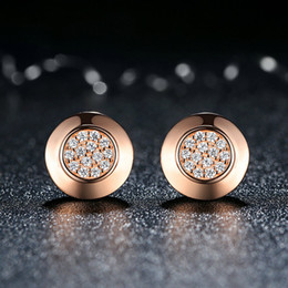 Genuine 925 Sterling Silver Earrings Classic Rose Gold Plated with Clear CZ Women Engagement Wedding Jewelry ER046
