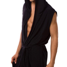 Wholesale-Men robes bathrobe Fashion Brand robe mens sexy sleepwear male kimono silk gay Pajama Casual Leisure Robe Lounge Sleeveless