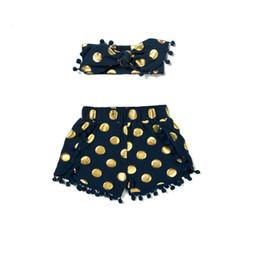 Navy & Gold Polka Dot Baby Girl 1st Birthday shorts outfit ,Metallic Pom Baby Girls Clothes ,Infant Girls short headband set