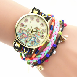 Wholesale NEW bicycle pattern watches bike students watch leather women bracelet watches Fashion casual rope weave ladies dress quartz watches