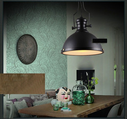 Industrial Pendant light Retro American Large Rough Black Metal Shade Ceiling LED Pendant Lamp for Home Lighting