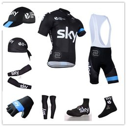 Wholesale team BLACK cycling jerseys short sleeve bib sets arms gloves legs caps scarf Shoes covers cycling socks Q3