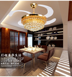 Luxury crystal invisible living room chandelier fans dining room ceiling chandelier fans led fans chandelier folding 42inch