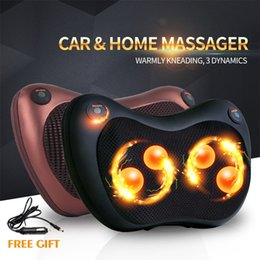 Wholesale With Box JinKaiRui Infrared Heating Kneading Body Device Electric Neck Shoulder Back Massage Pillow Multifunctional Car Shiatsu Massager