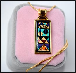 Geometric Fantasy Series 18K gold-plated enamel necklaces for woman Top quality rectangular pendant necklace free shipping collier