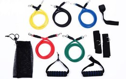 Wholesale 11Pcs Set resistance bands Latex ABS Tube Resistance Band Set with Door Anchor Ankle Strap Resistance Band Carrying Case