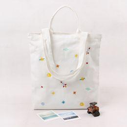 Canvas bag Cute embroidery Tote Bags Sports Bags Cotton Canvas Material women handbag shopping bag school bag