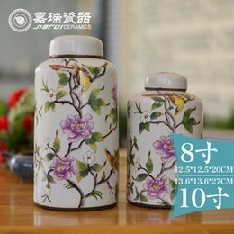 Wholesale hot sale chinese vintage Arts and Crafts ceramic tea canister Handmade storage box ceramic food jars Porcelain tea caddy