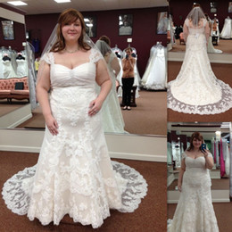 Plus Size Lace Wedding gowns 2017 Cap Sleeve Mermaid Maxi Women Bridal Dresses Court Train Custom Made Robe De Mariee Courte