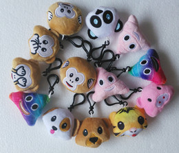 Wholesale Cute Doll Lovers - 5.5cm QQ Expression Rainbow poo Emoji Smiley Doll Keychains Cute Cartoon Plush Pendant Keychains High quality 10 style