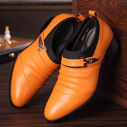 Wholesale 2016 oxford shoes Deep coffee color Dark yellow black mens business dress shoes genuine leather pointed toe mens wedding shoes