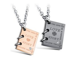 Wholesale Lovers Couples Necklace Romantic Love Story Book Pendant Titanium Steel Neckwear Chic Girlfriend Boyfriend Jewelry Gift