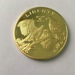 10 pcs Non magnetic Bald Eagle American animal badge 24K real gold plated 40 mm souvenir coin free shipping