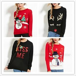 Wholesale Women Christmas Sequins Sweater Xmas Santa Claus Elk Cardigan Snowman Outerwear Knit Crochet Sweaters Winter Fashion Pullover Jumper B1332
