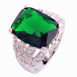 Wholesale Taille Bijoux AAA CZ Lab New Mode Vert émeraude Quartz K Blanc Or Argent Plaqué Ring Pour en gros Livraison gratuite
