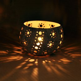 Wholesale SPA Deco Small Tealight Holder Handmade candle set Coconuts Shell Candle Set cm Aroma Tool Back to Nature Light Set