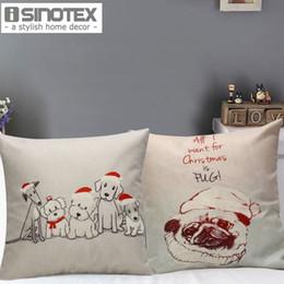 2017 чехлы собаки сиденье Xmas декоративные наволочки собака в Рождество Hat Pattern 45 * 45 см Сиденье диван подушечки Новый год Home Decor дешевый чехлы собаки сиденье