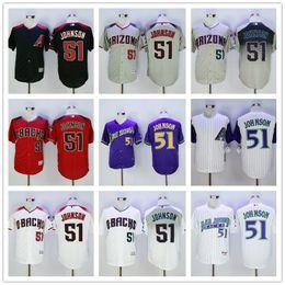 Wholesale 2016 Arizona Diamondbacks Randy Johnson Throwback Black Red Purple Gray White New Flexbase Mens Baseball Jerseys
