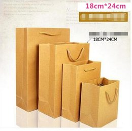 18cm*24cm+7cm Kraft Paper Packaging bag Length handle Standing up Bag Shopping bag Kraft+PE wholesales 100pcs