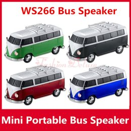 Wholesale Portable Bus Speaker WS Mini Stereo Car Speakers Subwoofer Deep Bass Car Speaker Support TF Card USB Bulit in Battery MP3 Player ws266