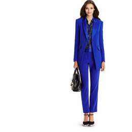 Wholesale Autumn Winter Office Lady Blazer Women s Jacket Basic Elegant Ladies Office Royal Blue Pant Suits Two Piece Custom Made Suit