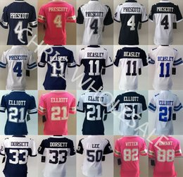 Wholesale Free Drop Shipping Dak Prescott Cowboys blue white pink ladies Stitched Elite Football game Jerseys for woman custom Mix Order