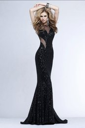 Prom Dress With Jewel Neck Merimaid Trumpet Sweep Train Sequined Fabric Sexy Back Cheap Evening Dresses #DL60162