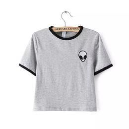 2016 New Fashion 3d Print Aliens crop top Short Sleeve T Shirt Women camisetas Teenagers T-shirts women Tops
