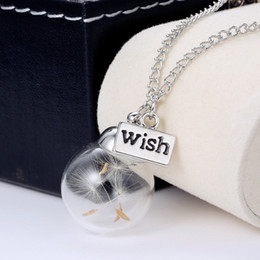 New Version ! Crystal Ball Real Dandelion Seed Wishing Wish Necklace Long Silver Chain HIGH QUALITY