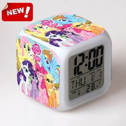 Wholesale Pony Print Pattern Alarm clock Conan LED Clock figures toys hobbies dolls nightlight supermario Colorful Glowing light toy my litter pony