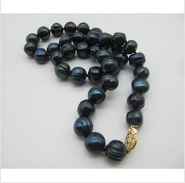 Wholesale CHARMING quot MM TAHITIAN BLACK BAROQUE PEARL NECKLACE YELLOW k CLASP