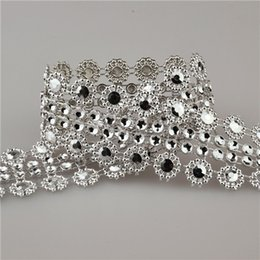 4.5m Sparkling Flower Diamond Rhinestone Wrap Ribbon Mesh Ribbons 3cm Event Party Supplies Wedding Decoration Silver
